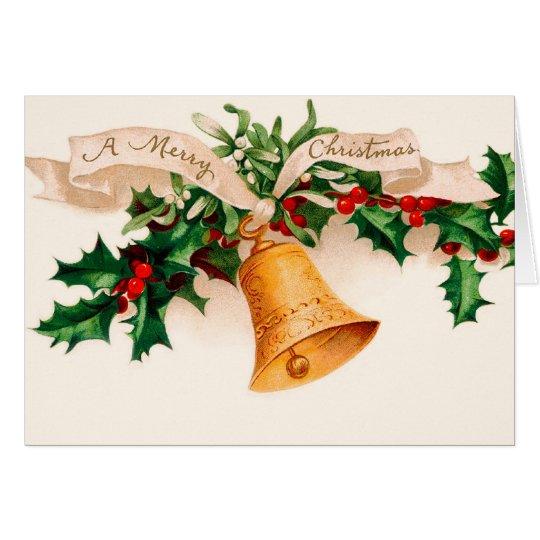 Alte Mode-Weihnachtskarte - Stechpalme Grußkarte