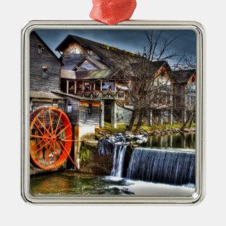Alte Mühle Quadratisches Silberfarbenes Ornament