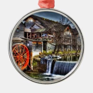 Alte Mühle Rundes Silberfarbenes Ornament