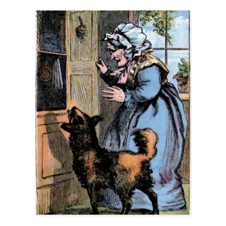 Alte Mutter Hubbard und ihr Hund Postkarte