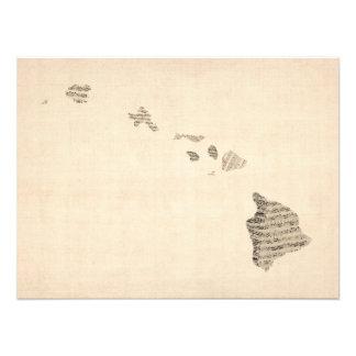 Alte Notenen-Karte von Hawaii Foto Druck