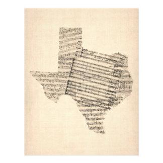 Alte Notenen-Karte von Texas Flyerdesign