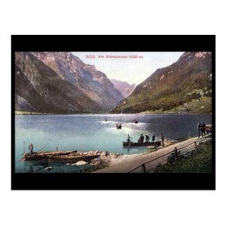 Alte Postkarte - Klontalersee, Glarus, die Schweiz