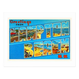 Alte Reise-Andenken des Hampton-Strand-New Postkarte