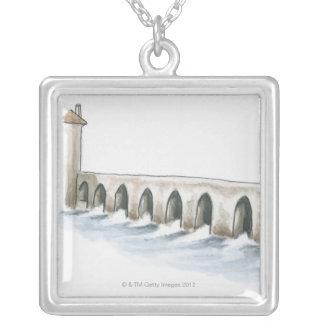 Alte römische Brücke Halskette Mit Quadratischem Anhänger