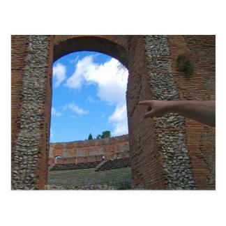 Alte Ruinen Taormina, Sizilien Postkarte