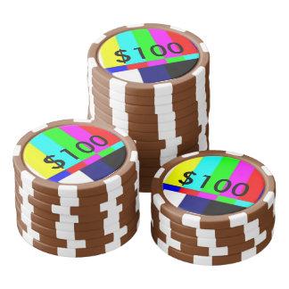 Alte Schule-FernsehPoker, der Chips $100 spielt Poker Chips Set