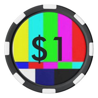 Alte Schule-FernsehPoker, der Chips $1 spielt Poker Chip Set