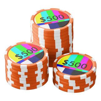 Alte Schule-FernsehPoker, der Chips $500 spielt Poker Chips Set