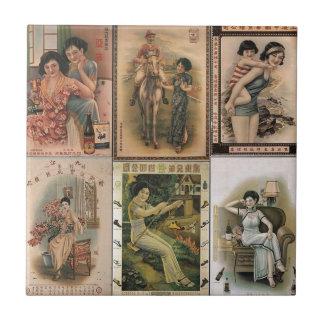 Alte Shanghai-Plakat-Frauen Kleine Quadratische Fliese