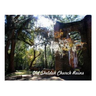 Alte Sheldon Kirchen-Ruinen Postkarte