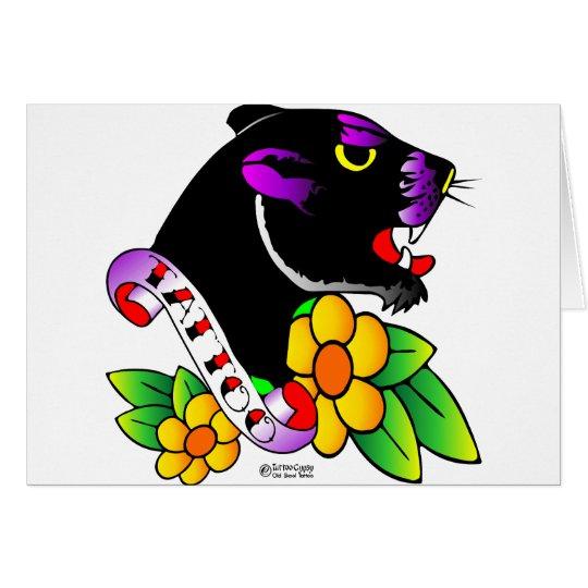 Alte Skool Tätowierungs-schwarzer Panther Grußkarte