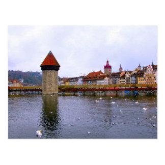 Alte Stadt der Luzerne - mahlen Sie Brücke und Postkarte
