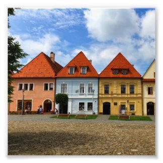 Alte Stadthäuser in Bardejov, Slowakei Fotodruck