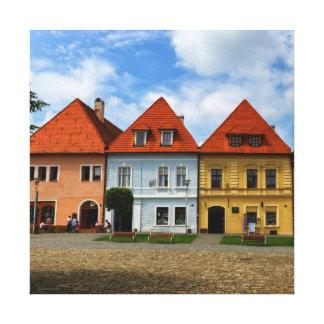 Alte Stadthäuser in Bardejov, Slowakei Galerie Faltleinwand