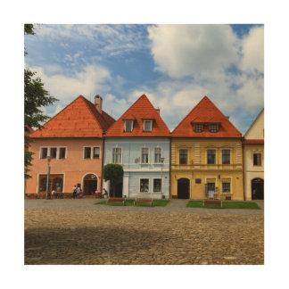 Alte Stadthäuser in Bardejov, Slowakei Holzleinwand