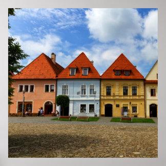 Alte Stadthäuser in Bardejov, Slowakei Poster