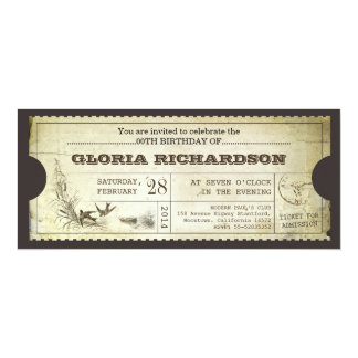 alte Vintage Kartengeburtstagseinladungen 10,2 X 23,5 Cm Einladungskarte