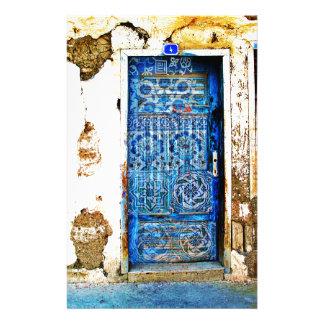 Alte Vintage Tür Griechenlands blaue Boho Art Briefpapier
