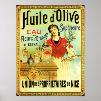 Alte Weltolivenöl-Vintages Kochen Poster