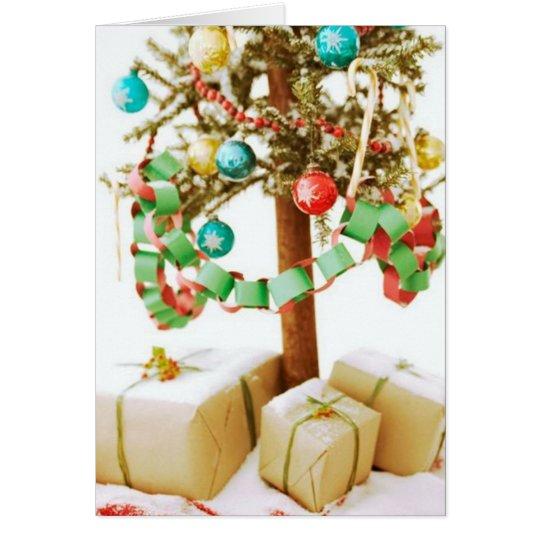 Alte Zeit-Weihnachtsbaum-Karten und Aufkleber Grußkarte