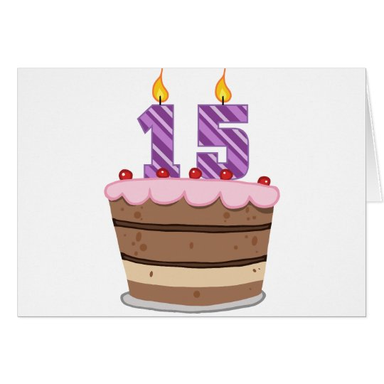 Alter 15 auf Geburtstags-Kuchen Grußkarte