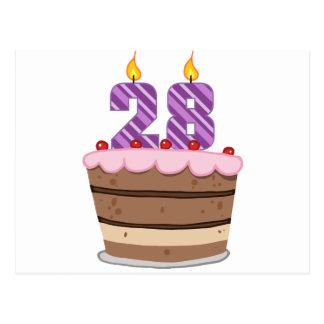 Alter 28 auf Geburtstags-Kuchen Postkarte