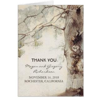 Alter Baum-rustikale Hochzeit danken Ihnen Mitteilungskarte