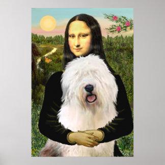 Alter englischer Schäferhund - Mona Lisa Poster