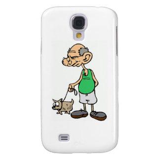 Alter gehender Mann der Hund Galaxy S4 Hülle