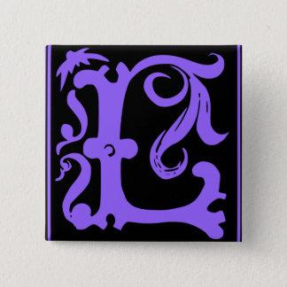 Alter Kalligraphie-Buchstabe L quadratisches Quadratischer Button 5,1 Cm