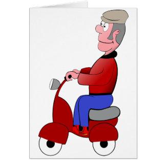 Alter Mann auf ein Roller-Gruß-Karten Karte