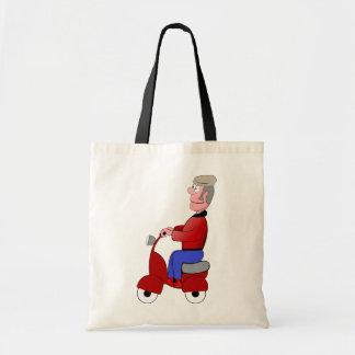 Alter Mann auf einer Roller-Taschen-Tasche Tragetasche