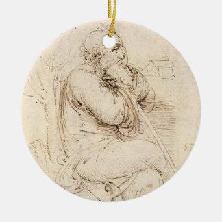 Alter Mann-und Wasser-Skizze durch Leonardo da Keramik Ornament