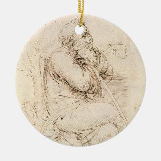 Alter Mann-und Wasser-Skizze durch Leonardo da Rundes Keramik Ornament