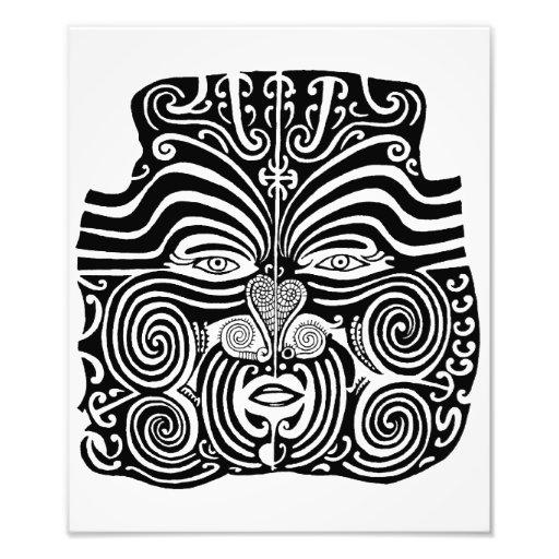 Alter Maori- Moko Stammes- Tätowierungsentwurf Kunst Photo