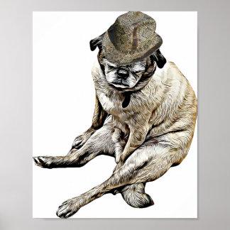 Alter Mops-Hundetragendes Fedora-Hut Plakat