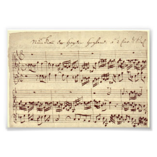 Alter Musiknoten - Bach Musik-Blatt Photo Druck