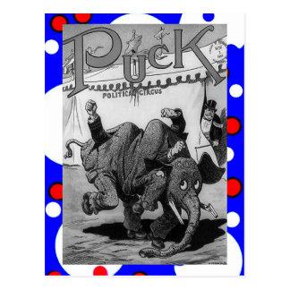 ALTER politischer Comic-Elefant KÄMPFENDE Postkarte