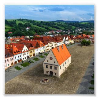 Alter Rathausplatz in Bardejov bis zum Tag, Fotodruck