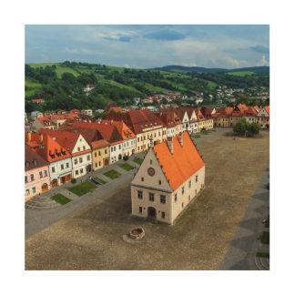 Alter Rathausplatz in Bardejov bis zum Tag, Holzdruck