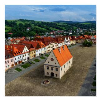 Alter Rathausplatz in Bardejov bis zum Tag, Poster