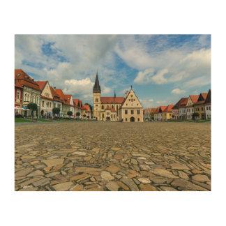 Alter Rathausplatz in Bardejov, Slowakei Holzleinwand