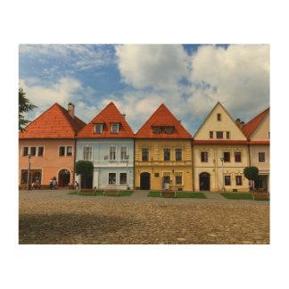 Alter Rathausplatz in Bardejov, Slowakei Holzleinwände
