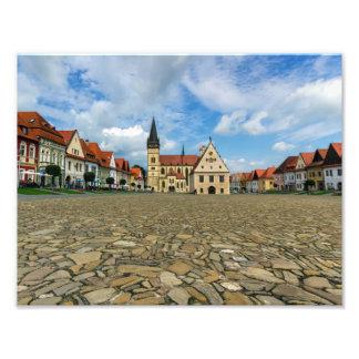 Alter Rathausplatz in Bardejov, Slowakei Photographischer Druck