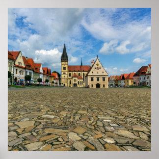 Alter Rathausplatz in Bardejov, Slowakei Poster