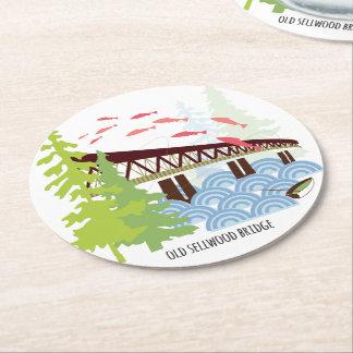 Alter Sellwood Brücken-Portland-Untersetzer Runder Pappuntersetzer