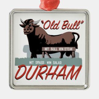Alter Stier Durham Silbernes Ornament
