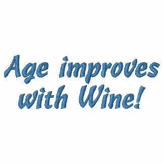 Alter verbessert mit Wein! Spaß gesticktes Shirt Bestickte Polos