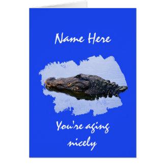 Ältere Person, freundlich alternd, AlligatorFoto Karte